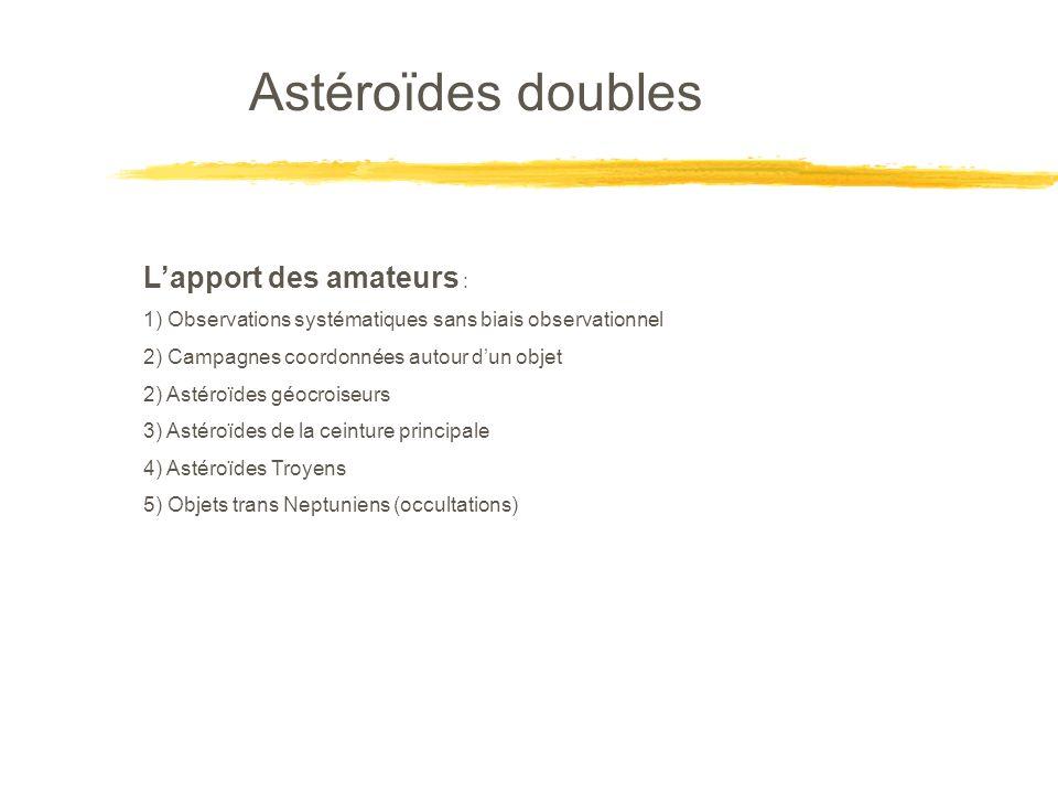 Astéroïdes doubles L'apport des amateurs :