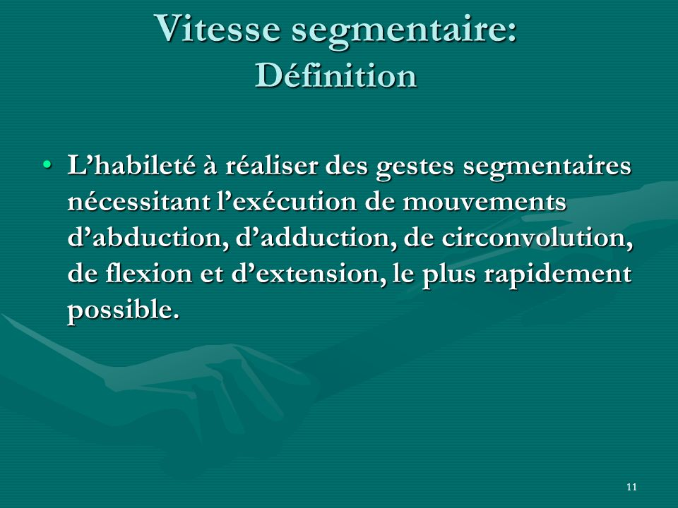 Vitesse segmentaire: Définition