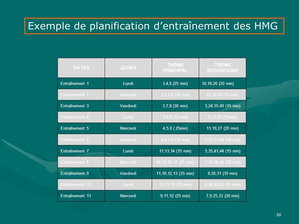 Exemple de planification d'entraînement des HMG