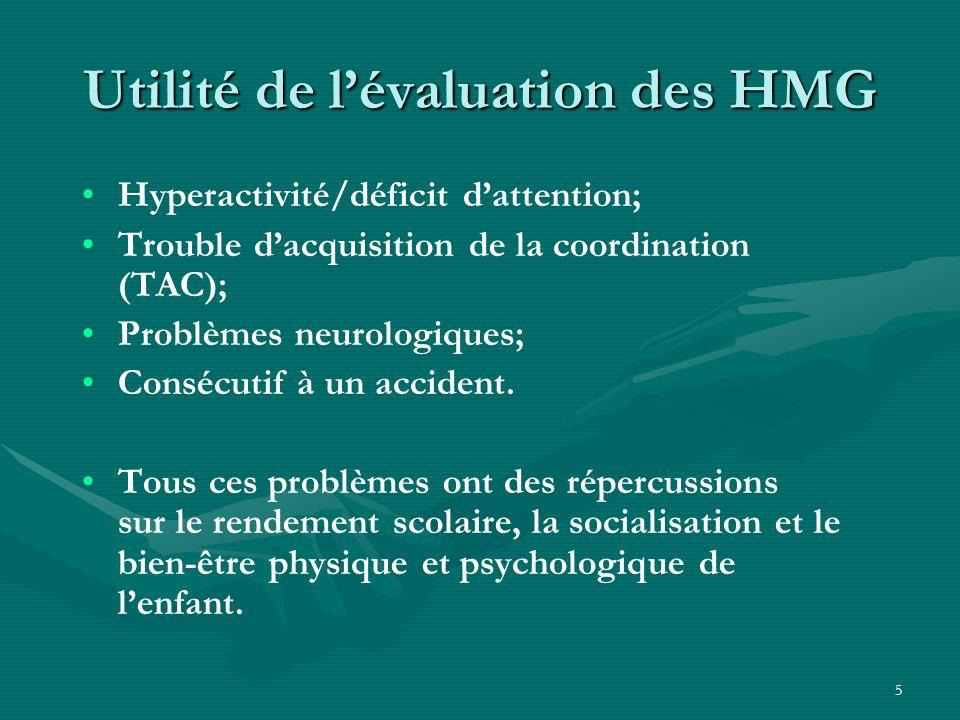 Utilité de l'évaluation des HMG