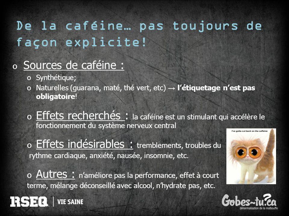 De la caféine… pas toujours de façon explicite!