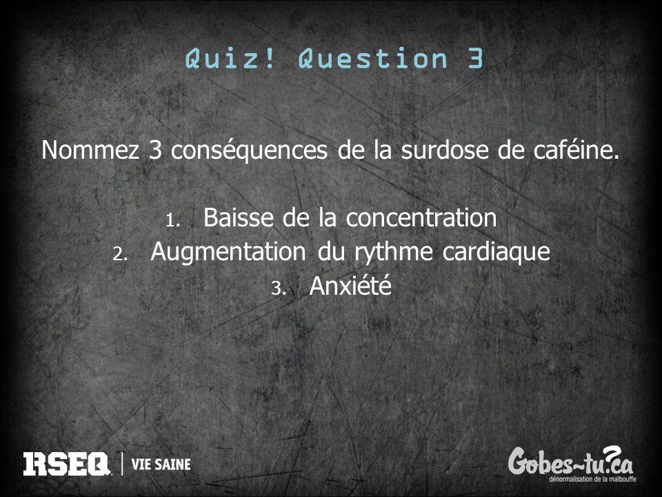 Quiz! Question 3 Nommez 3 conséquences de la surdose de caféine.