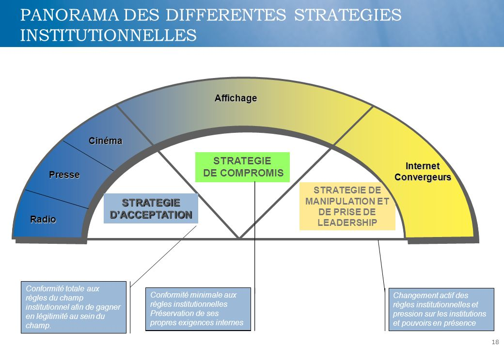 PANORAMA DES DIFFERENTES STRATEGIES INSTITUTIONNELLES