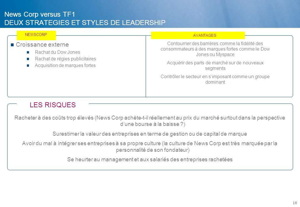 News Corp versus TF1 DEUX STRATEGIES ET STYLES DE LEADERSHIP