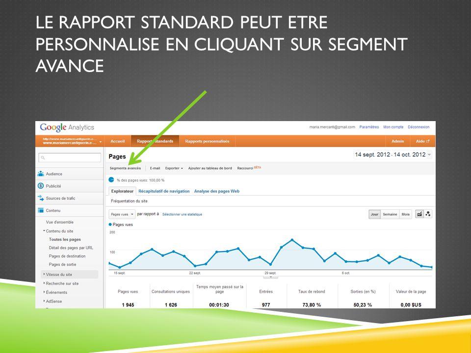 Le rapport standard peut etre personnalise en cliquant sur segment avance