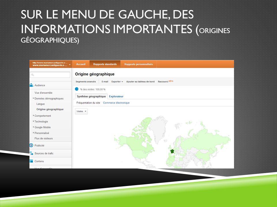SUR LE MENU DE GAUCHE, DES INFORMATIONS IMPORTANTES (origines géographiques)