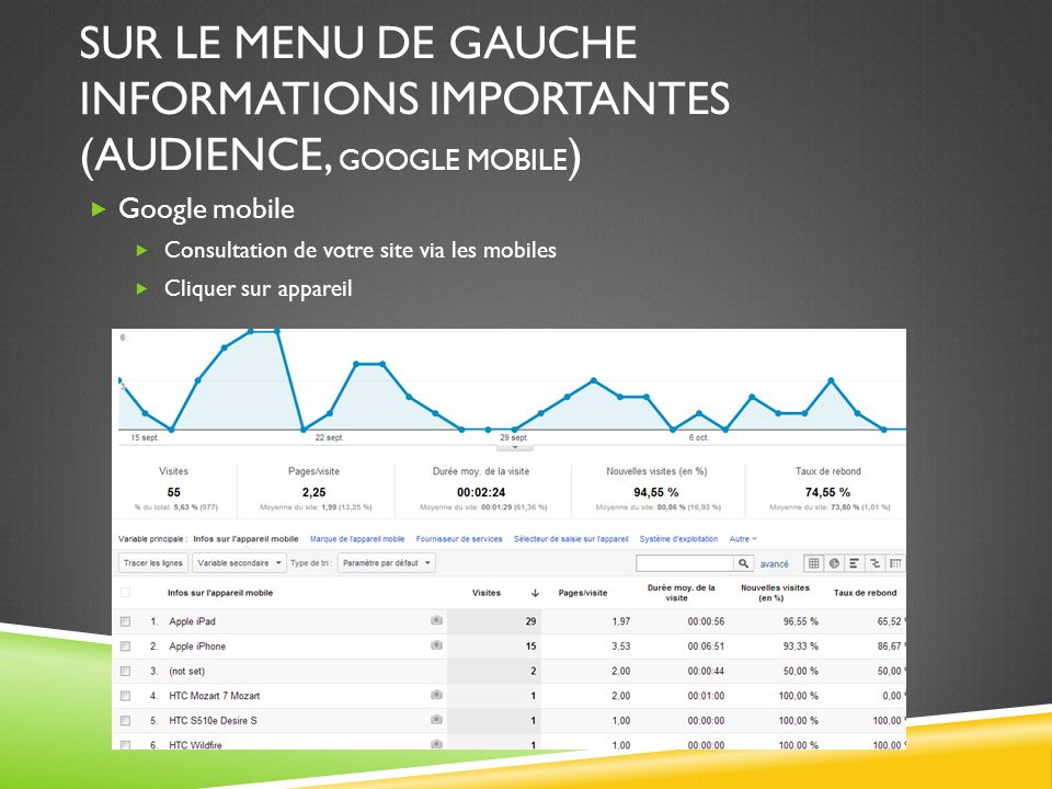 Sur le menu de gauche informations importantes (AUDIENCE, google mobile)