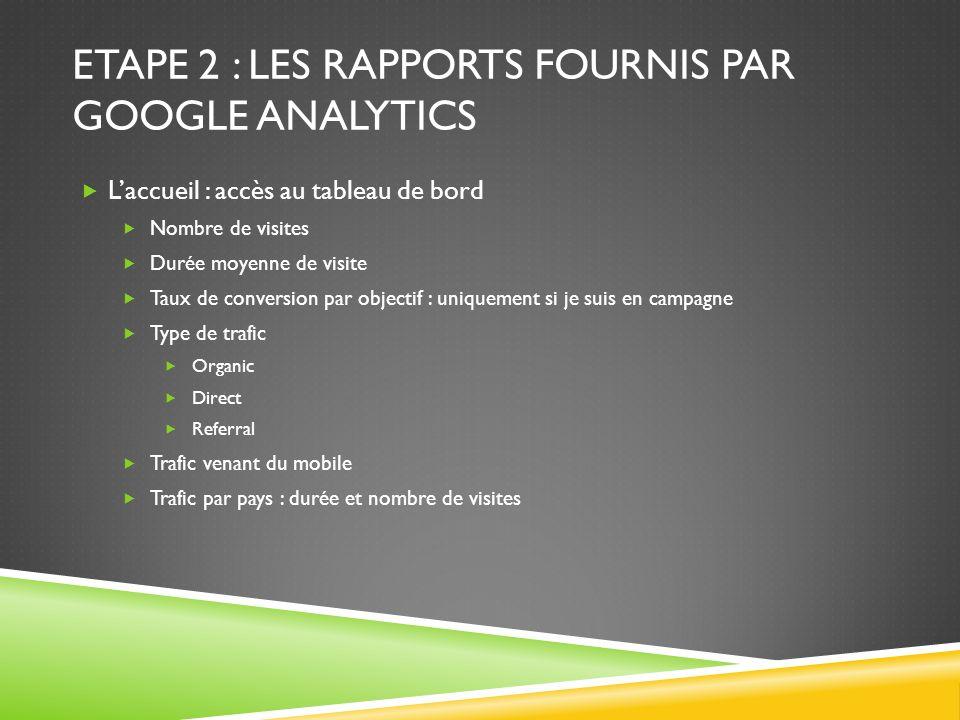 Etape 2 : les rapports fournis par Google Analytics