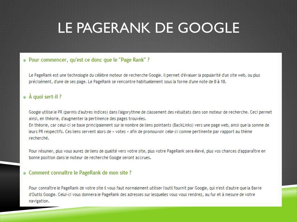LE PAGERANK DE GOOGLE
