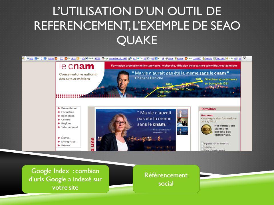 L'utilisation d'un outil de referencement, l'exemple de SEAO Quake