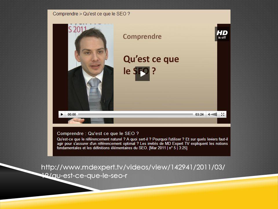 http://www.mdexpert.tv/videos/view/142941/2011/03/19/qu-est-ce-que-le-seo-r