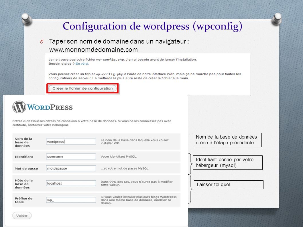 Configuration de wordpress (wpconfig)