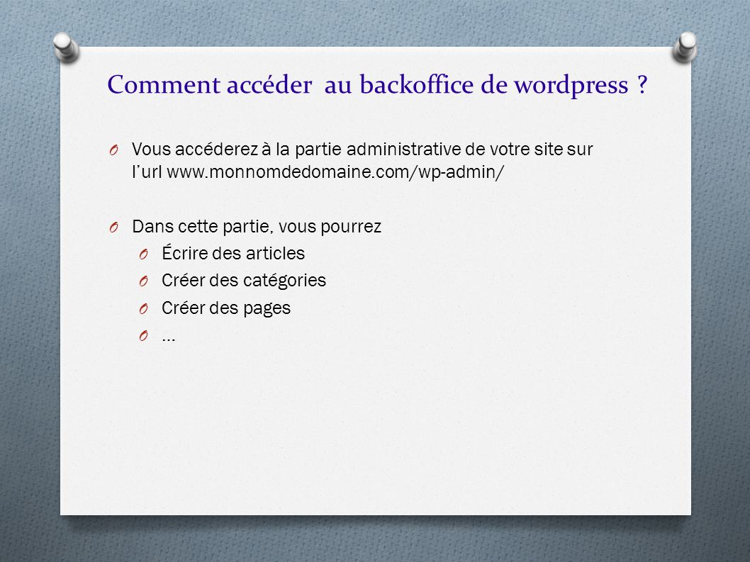 Comment accéder au backoffice de wordpress
