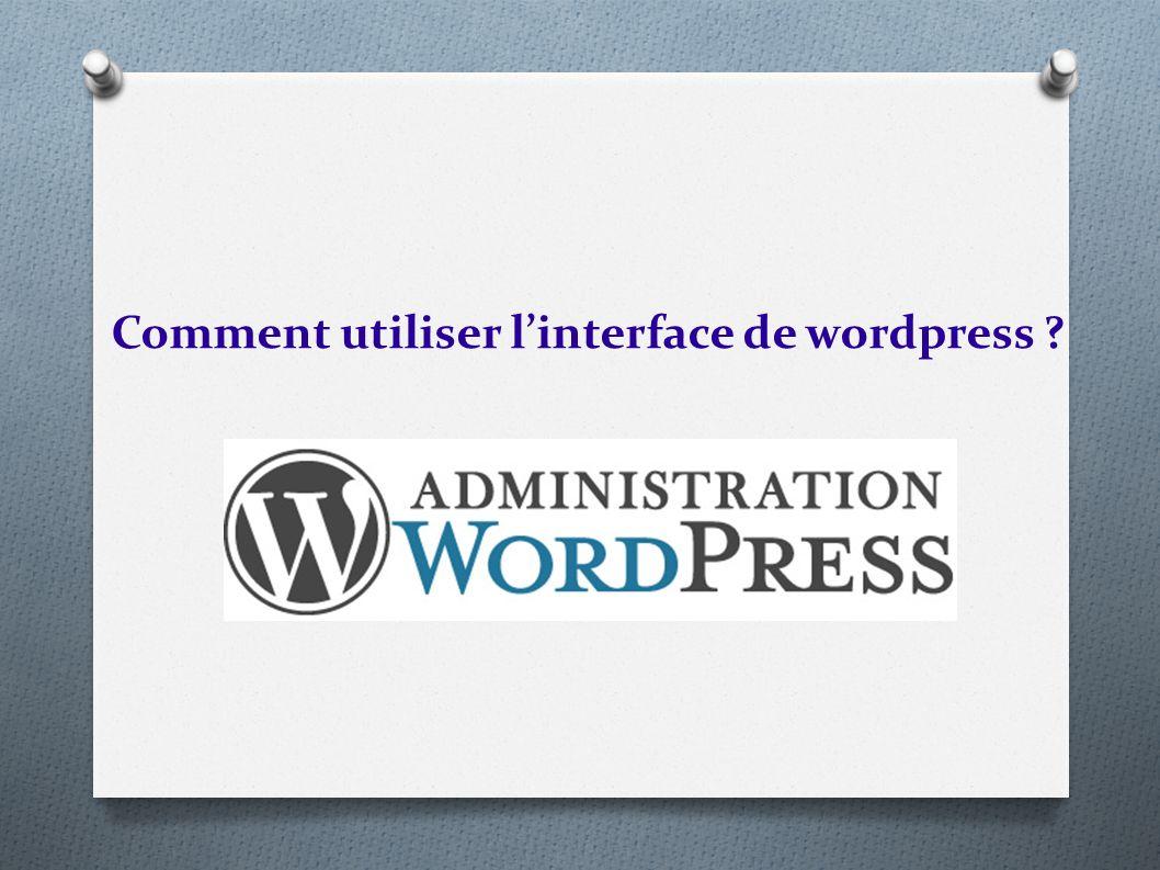 Comment utiliser l'interface de wordpress