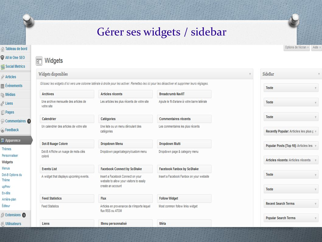 Gérer ses widgets / sidebar
