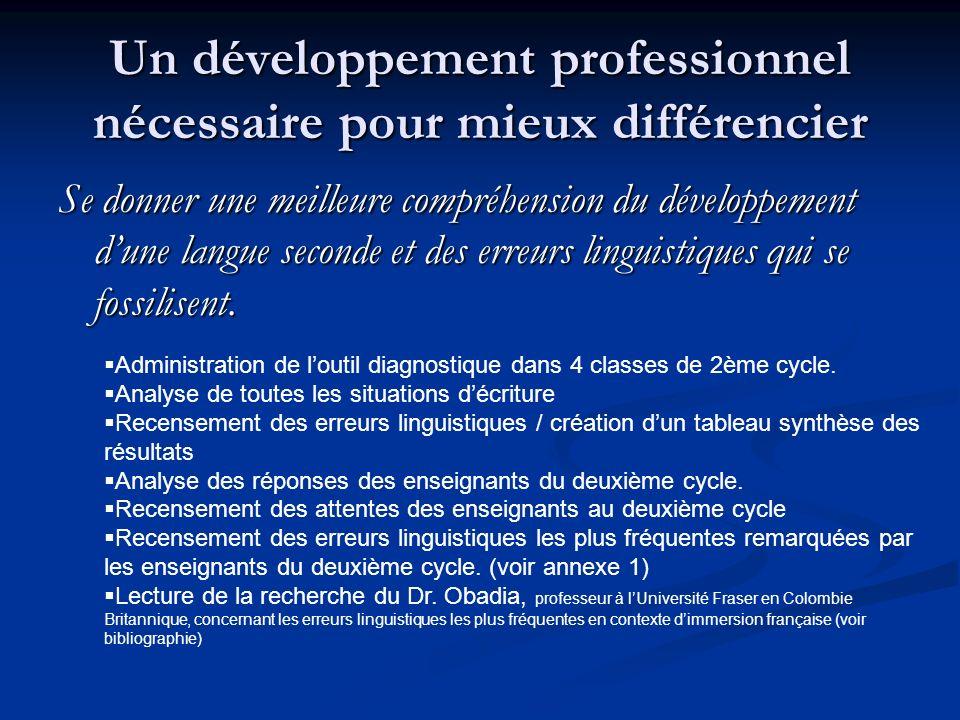 Un développement professionnel nécessaire pour mieux différencier