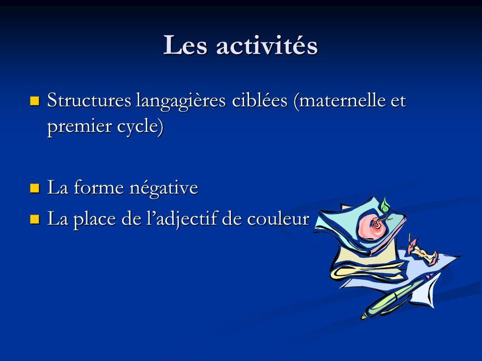 Les activités Structures langagières ciblées (maternelle et premier cycle) La forme négative.