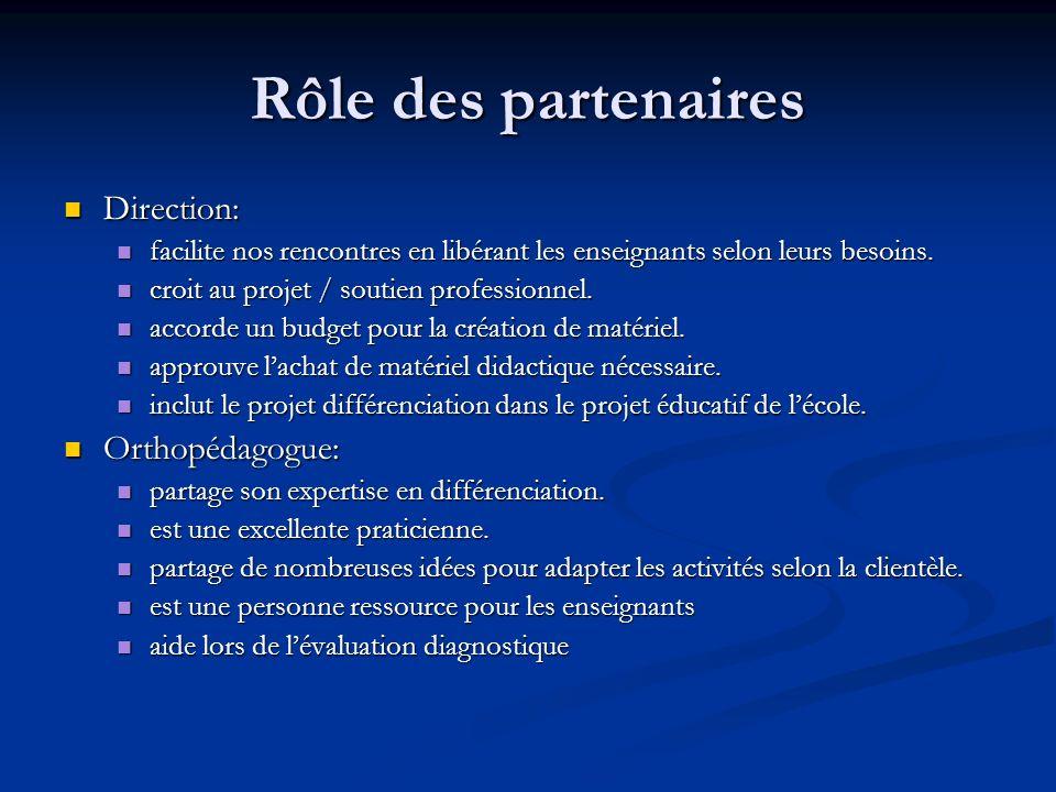 Rôle des partenaires Direction: Orthopédagogue: