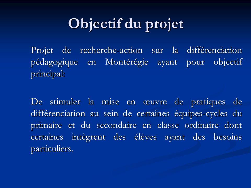 Objectif du projet Projet de recherche-action sur la différenciation pédagogique en Montérégie ayant pour objectif principal:
