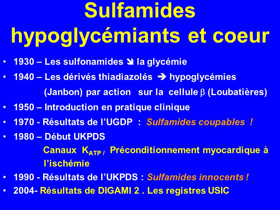 Sulfamides hypoglycémiants et coeur