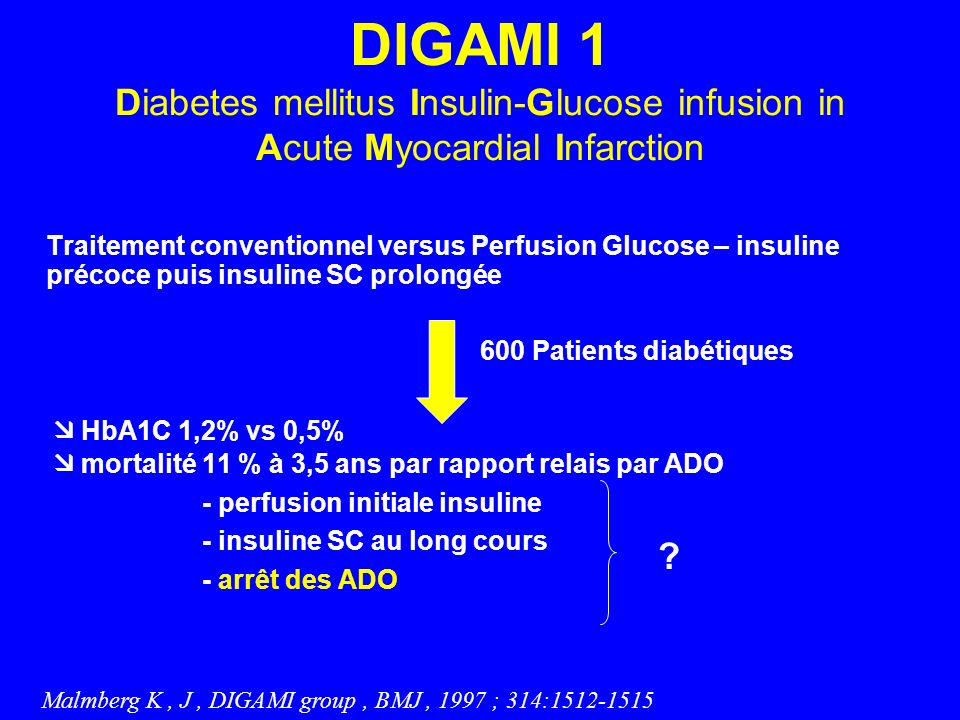 DIGAMI 1 Diabetes mellitus Insulin-Glucose infusion in Acute Myocardial Infarction