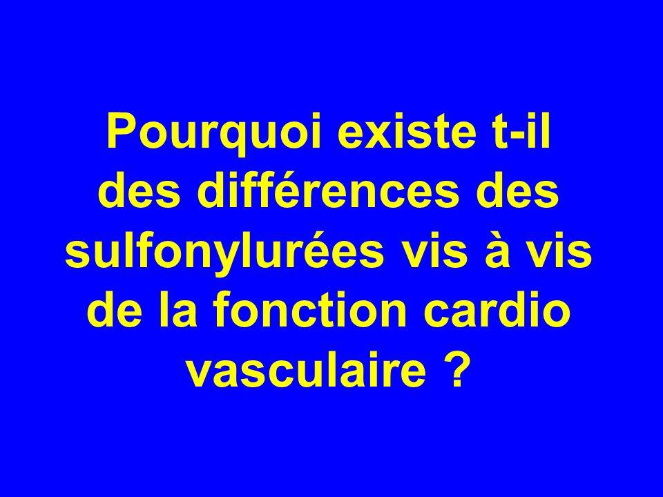 Pourquoi existe t-il des différences des sulfonylurées vis à vis de la fonction cardio vasculaire