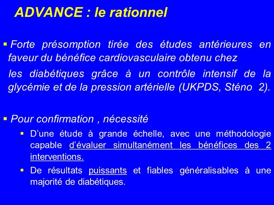 ADVANCE : le rationnel Forte présomption tirée des études antérieures en faveur du bénéfice cardiovasculaire obtenu chez.