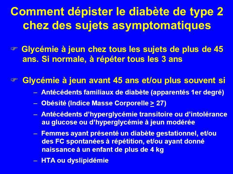 Comment dépister le diabète de type 2 chez des sujets asymptomatiques