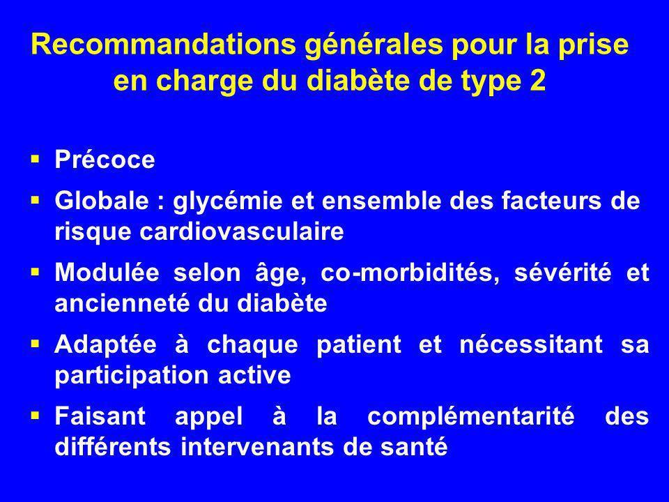 Recommandations générales pour la prise en charge du diabète de type 2
