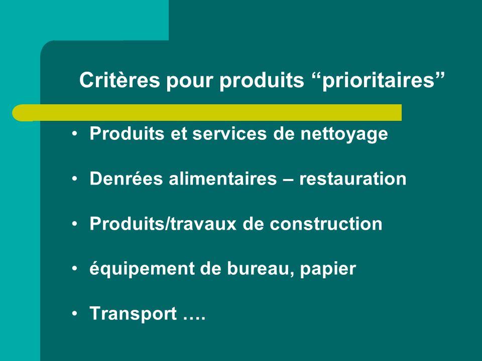 Critères pour produits prioritaires