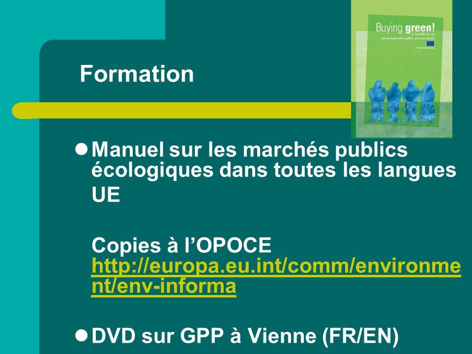 Formation Manuel sur les marchés publics écologiques dans toutes les langues. UE.