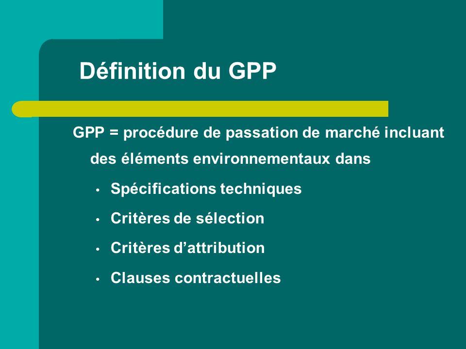 Définition du GPP GPP = procédure de passation de marché incluant des éléments environnementaux dans.