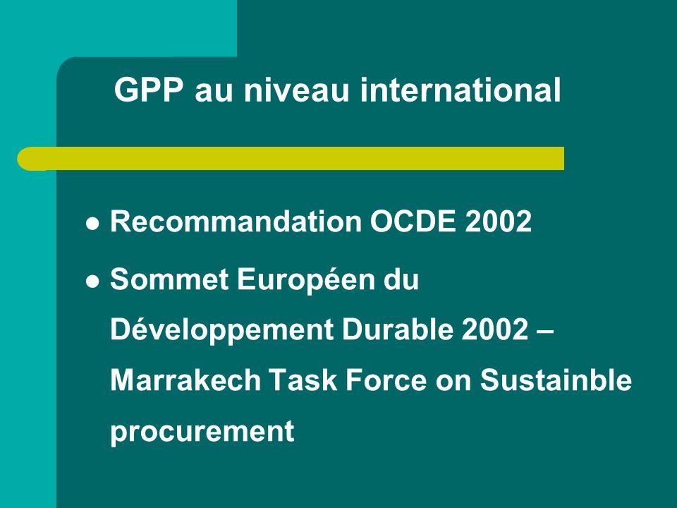 GPP au niveau international