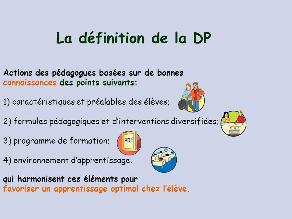 La définition de la DP Actions des pédagogues basées sur de bonnes
