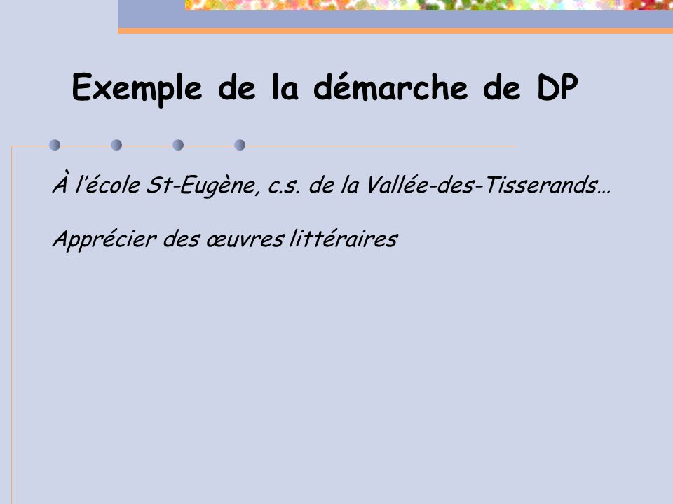 Exemple de la démarche de DP