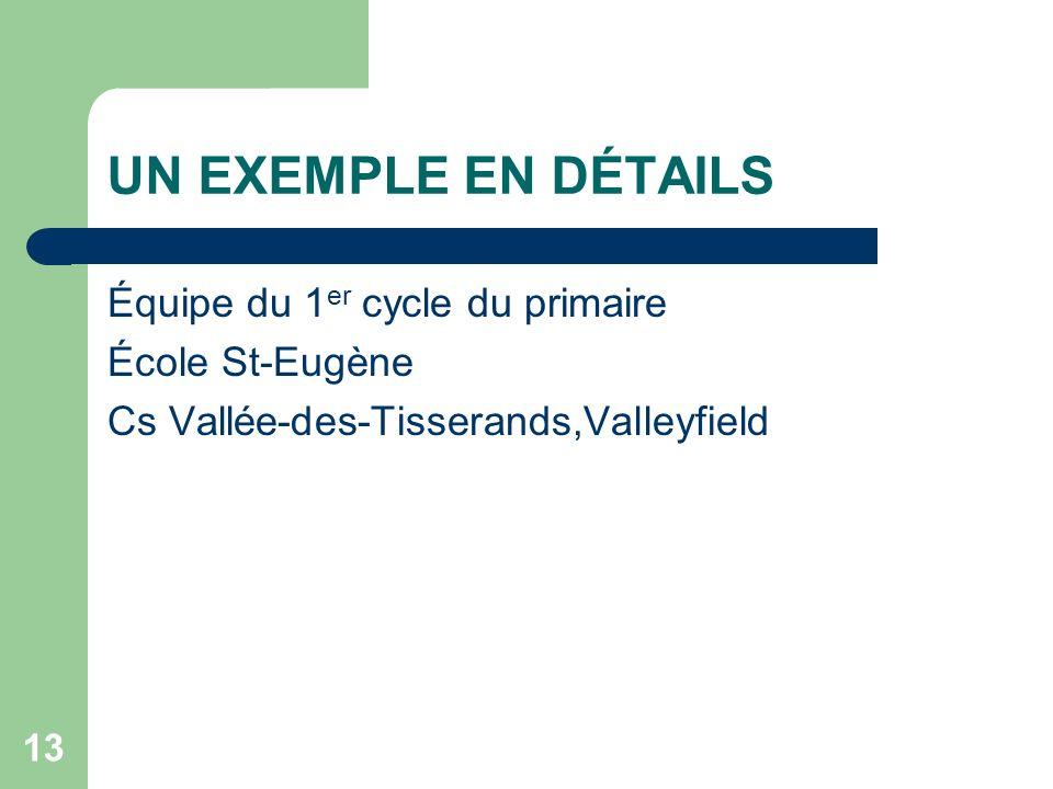 UN EXEMPLE EN DÉTAILS Équipe du 1er cycle du primaire École St-Eugène