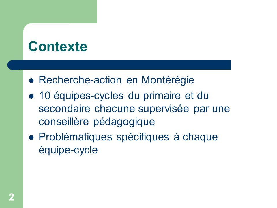 Contexte Recherche-action en Montérégie