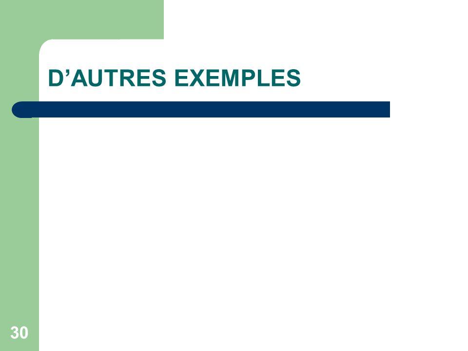D'AUTRES EXEMPLES