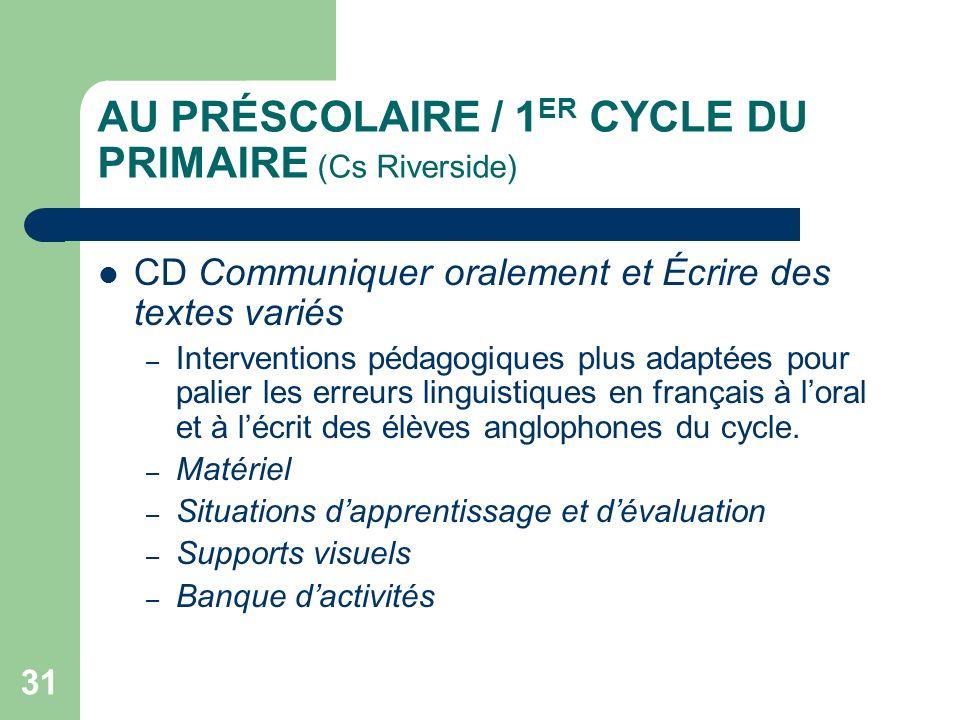 AU PRÉSCOLAIRE / 1ER CYCLE DU PRIMAIRE (Cs Riverside)