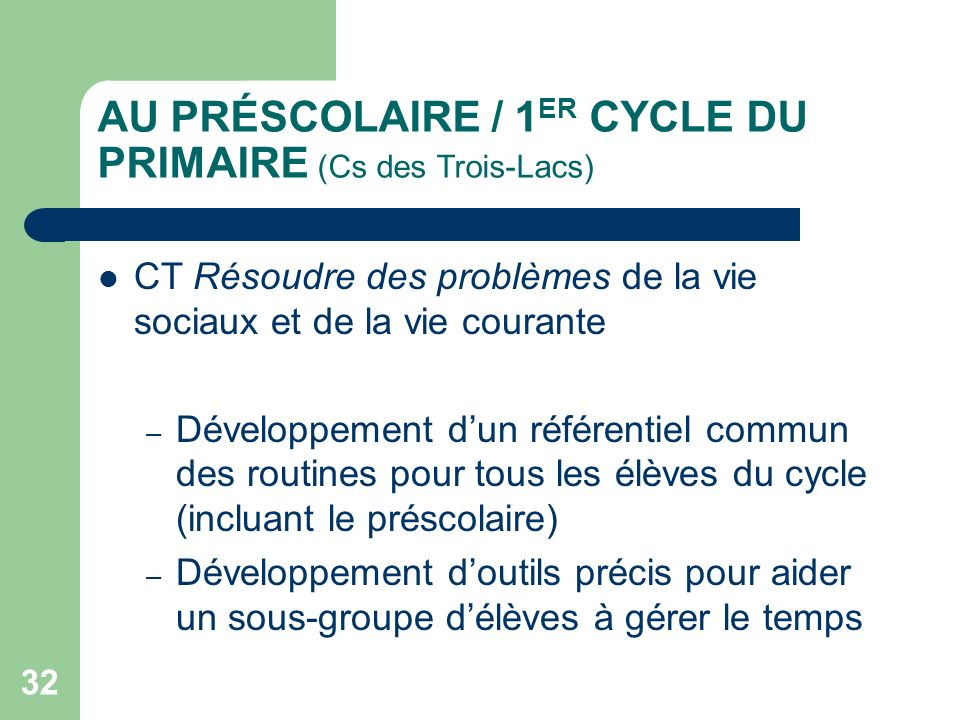 AU PRÉSCOLAIRE / 1ER CYCLE DU PRIMAIRE (Cs des Trois-Lacs)