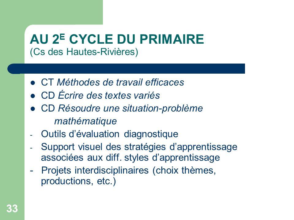 AU 2E CYCLE DU PRIMAIRE (Cs des Hautes-Rivières)