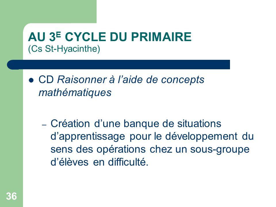 AU 3E CYCLE DU PRIMAIRE (Cs St-Hyacinthe)