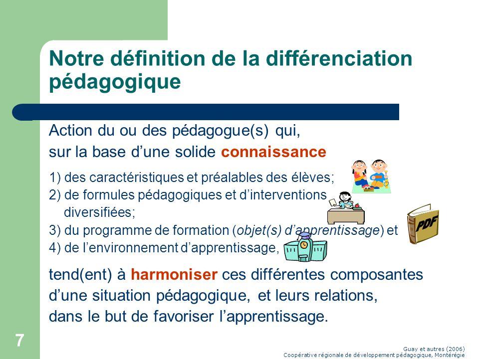 Notre définition de la différenciation pédagogique