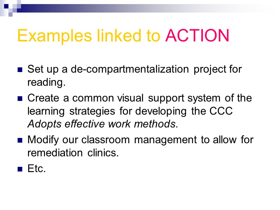 Examples linked to ACTION