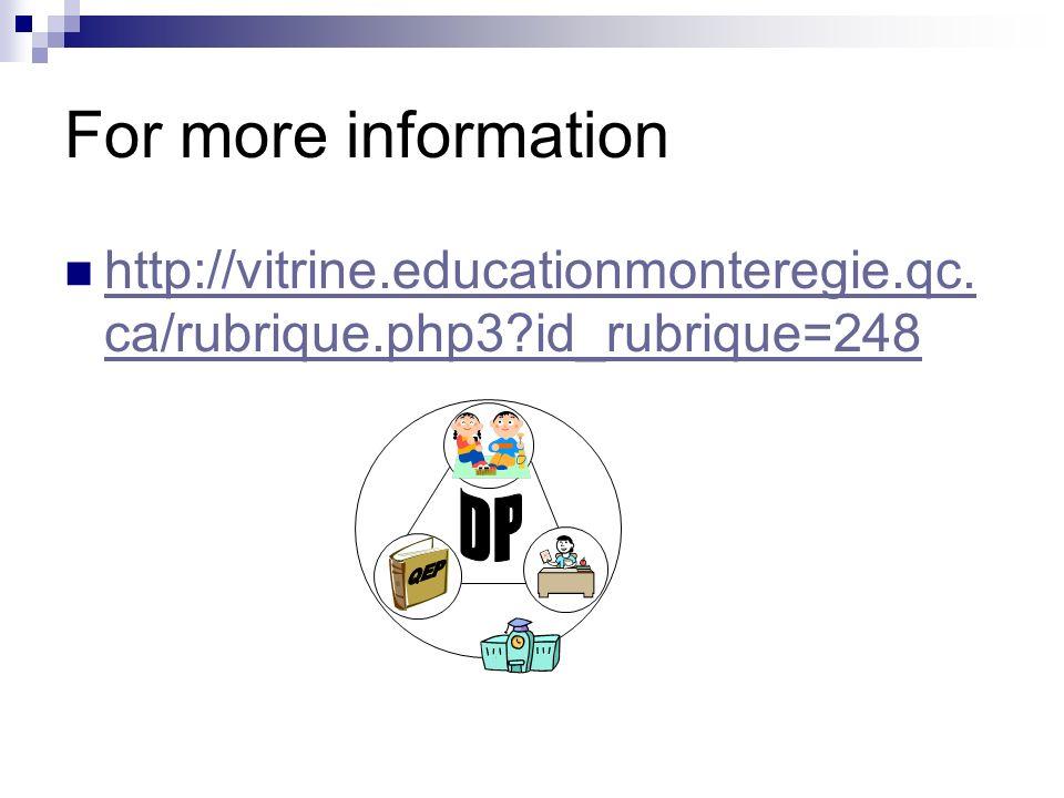 For more information http://vitrine.educationmonteregie.qc.ca/rubrique.php3 id_rubrique=248 QEP DP