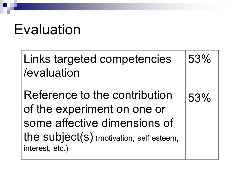 Evaluation Links targeted competencies /evaluation