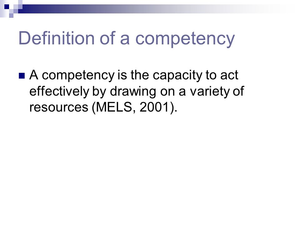 Definition of a competency
