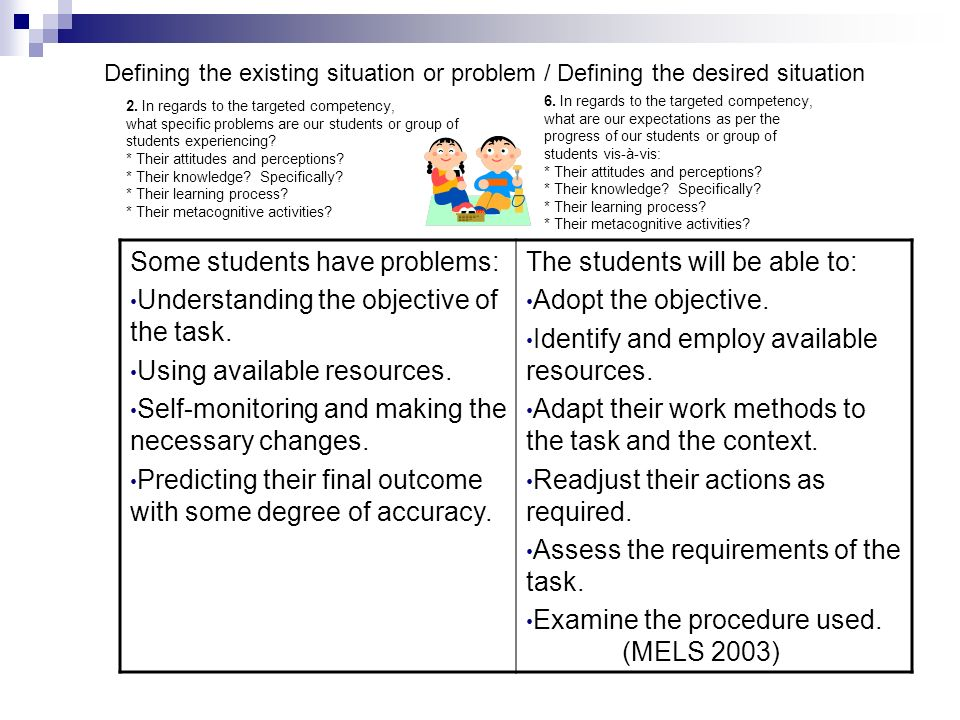 Some students have problems: Understanding the objective of the task.