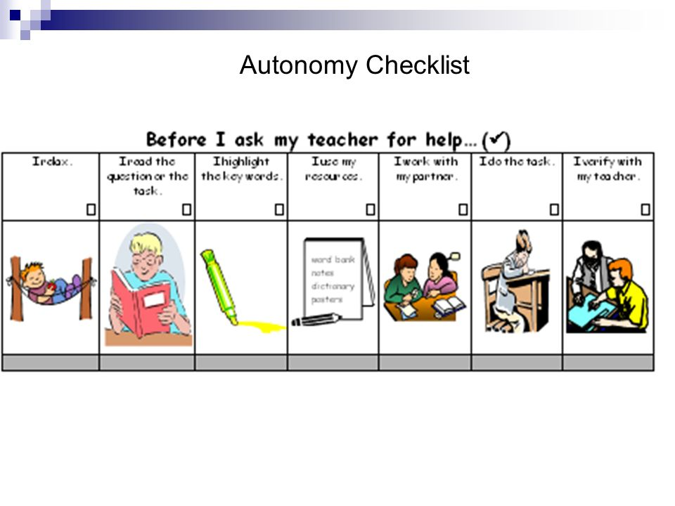Autonomy Checklist