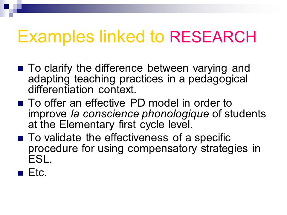 Examples linked to RESEARCH